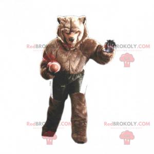 Braunbärenmaskottchen in American-Football-Ausrüstung -
