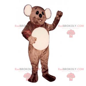 Brun og beige bjørnemaskot med store runde ører - Redbrokoly.com