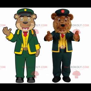Medvěd maskot v oblečení správce - Redbrokoly.com