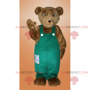 Brown bear mascot with his overalls - Redbrokoly.com