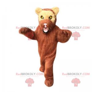 Maskot medvěd hnědý a žluté oči - Redbrokoly.com