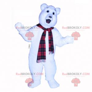 Polar bear mascot with plaid scarf - Redbrokoly.com