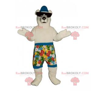 Eisbärenmaskottchen in Badehose und Sonnenbrille -