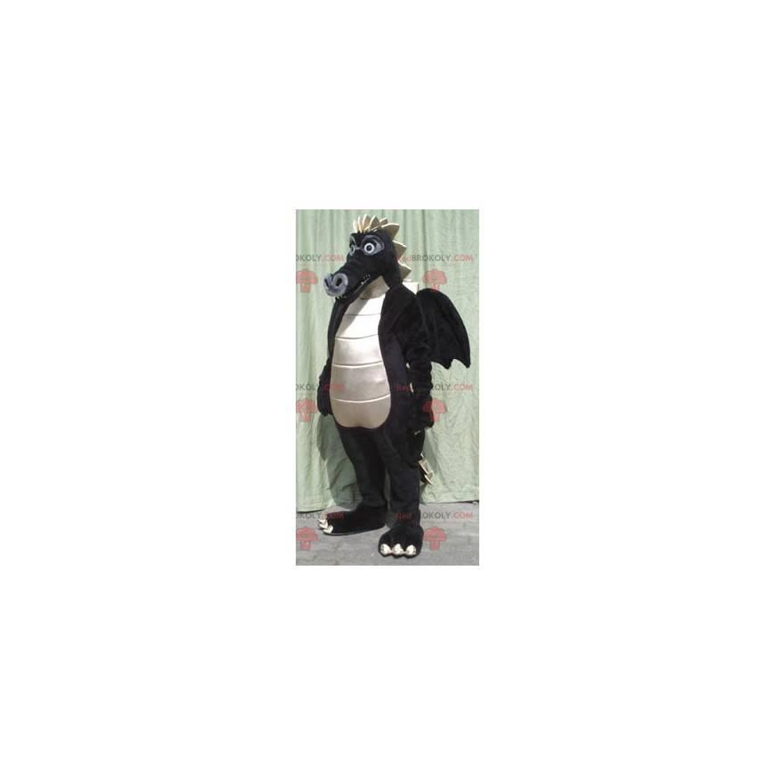 Stor svart og hvit drage maskot - Redbrokoly.com