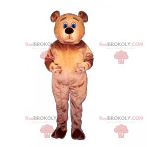 Bärenmaskottchen mit blauen Augen und braunen Haaren -
