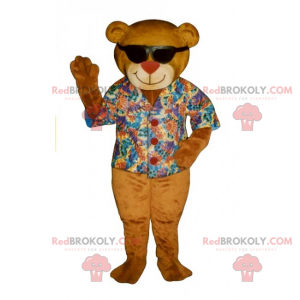 Teddy bear mascot with colored shirt and black glasses -