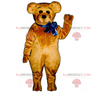 Medvěd maskot s modrou mašlí - Redbrokoly.com