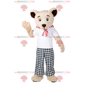 Maskot medvídek s kostkovanými kalhotami - Redbrokoly.com