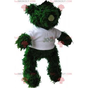 Malý zelený medvídek maskot s tričkem - Redbrokoly.com