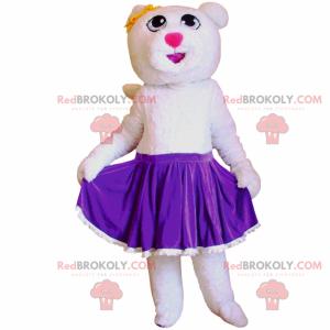 Maskot bílý medvěd v sukni - Redbrokoly.com