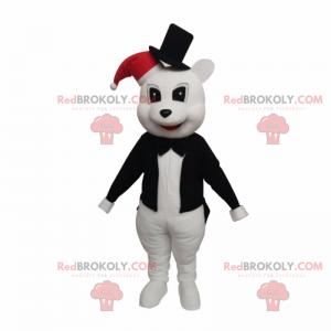 Maskot ledního medvěda v gala šatech a vánoční čepici -