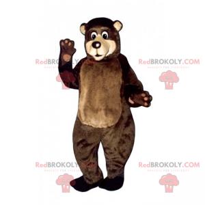 Brun bjørnemaskot med beige ansikt - Redbrokoly.com