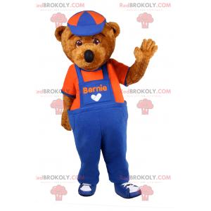 Teddy bear mascot overalls and cap - Redbrokoly.com