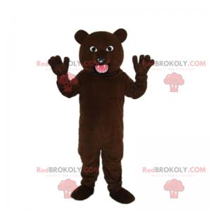 Teddybär-Maskottchen mit offenem Mund - Redbrokoly.com