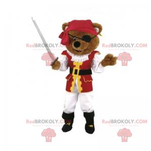 Maskot pirátského medvěda s mečem - Redbrokoly.com