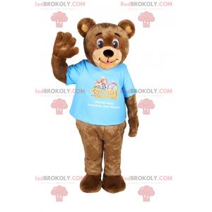 Usmívající se medvídek maskot s tričkem - Redbrokoly.com