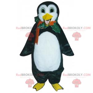 Feiertagsmaskottchen - Pinguin mit Stechpalmenhalskette -