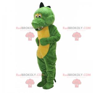 Maskot rozkošný zelený a žlutý dinosaurus - Redbrokoly.com