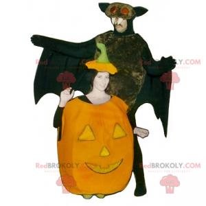 Halloween Duo Maskottchen - Kürbis und Fledermäuse -