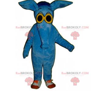 Blue elephant mascot with yellow glasses - Redbrokoly.com