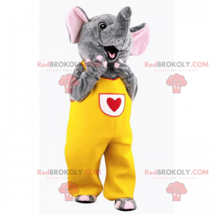 Elephant mascot in yellow jumpsuit with heart - Redbrokoly.com