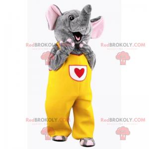 Maskot slona ve žluté kombinéze se srdcem - Redbrokoly.com