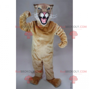 Rozzlobený béžový kočičí maskot - Redbrokoly.com