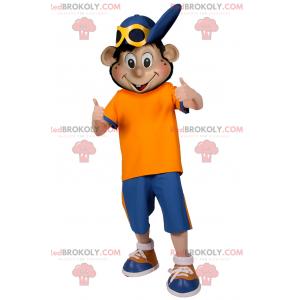 Maskot chlapec s modrou čepicí - Redbrokoly.com