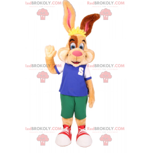 Two-tone beige and brown rabbit mascot in shorts -