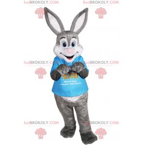 Graues und weißes Kaninchenmaskottchen mit großen Ohren -