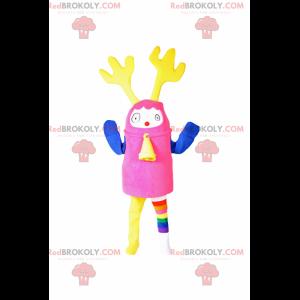 Mehrfarbiges Maskottchen mit Rentierohren - Redbrokoly.com