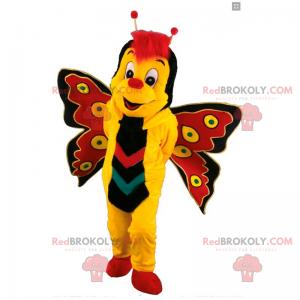Gul og rød sommerfuglemaskot - Redbrokoly.com