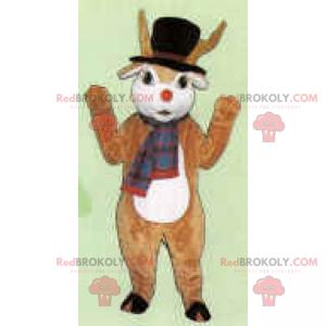Zimowa maskotka postaci - renifer Świętego Mikołaja -
