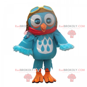 Malá modrá sova maskot s pilotní přilbou - Redbrokoly.com