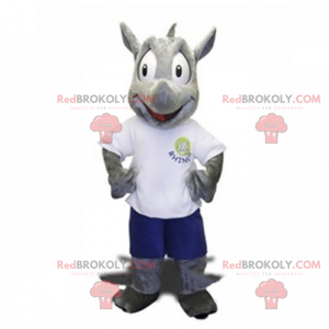 Næsehorn maskot i shorts og t-shirt - Redbrokoly.com