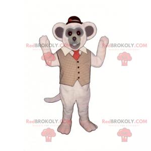 Mausmaskottchen mit Jacke und rundem Hut - Redbrokoly.com