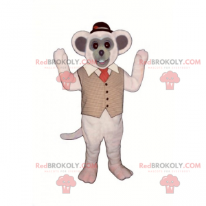 Mouse mascot with jacket and round hat - Redbrokoly.com