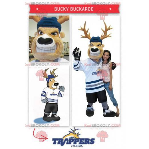 Hockey player caribou mascot - Redbrokoly.com