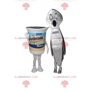 Yogurt mascots with spoon - Redbrokoly.com
