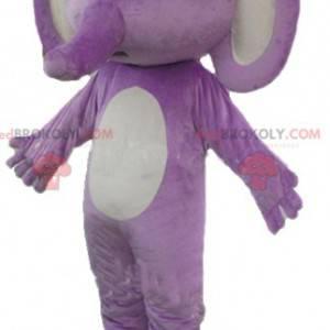 Fioletowy i biały słoń maskotka - Redbrokoly.com