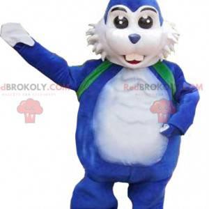 Bílý a modrý králík maskot - Redbrokoly.com