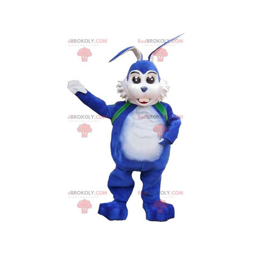 Hvit og blå kaninmaskot - Redbrokoly.com