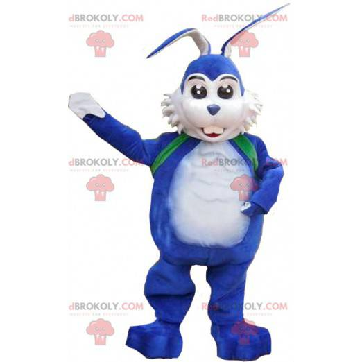 Weißes und blaues Kaninchenmaskottchen - Redbrokoly.com