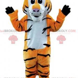 Orange tiger mascot white and black striped - Redbrokoly.com