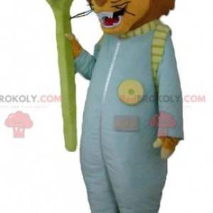 Maskot tygra s oblekem a kartáčkem na zuby - Redbrokoly.com