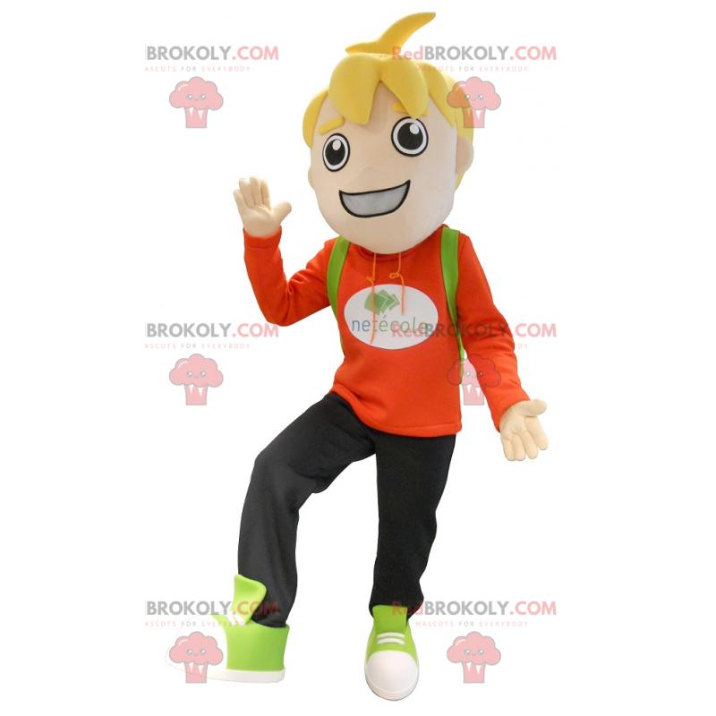 Malý blonďatý školák chlapec maskot - Redbrokoly.com
