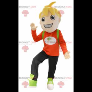 Liten blond skolegutt-maskot - Redbrokoly.com