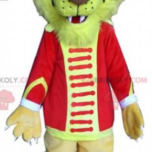 Maskot žlutý tygr lev v cirkusové oblečení - Redbrokoly.com