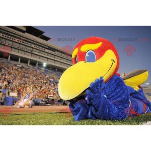 Maskottchen großer blauer roter und gelber Vogel -