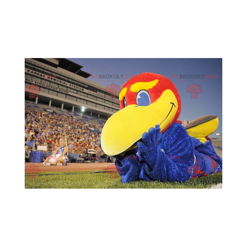 Maskott stor blå rød og gul fugl - Redbrokoly.com